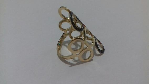 Anel Círculos Vazados De Ouro 18k Cravejado De Zirconia
