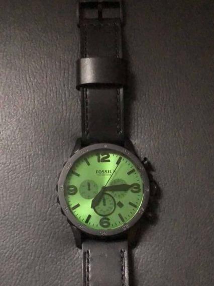 Relógio Fossil, Pulseira De Couro E Cronômetro