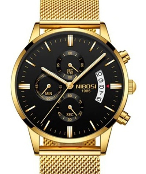 Relógio Nibosi 2309 Dourado Quartzo Casual De Luxo Original