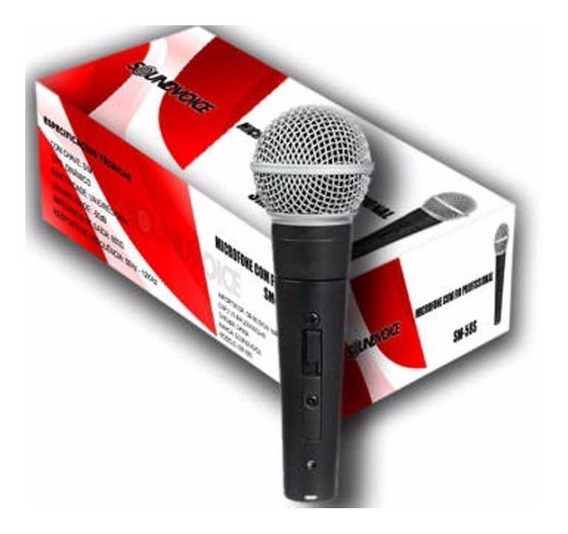 Microfone Dinâmico Soundvoice Sm58 Tipo Shure Chave + Cabo