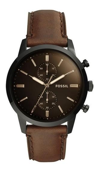 Relógio Masculino Fossil Fs5437/0mn 44mm Couro Marrom