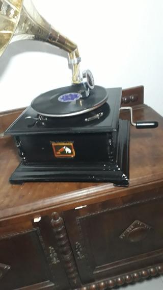 Gramofone A Corda Vitrola+30 Agulhas+2discos Francisco Alves