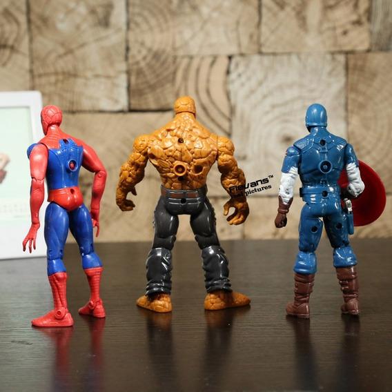 Kit C/ 5 Homem De Ferro Coisa Capitão América Hulk Spiderman
