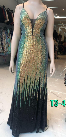 Vestido De Fiesta Tm Palliet Verde Y Negro Sabah Desing