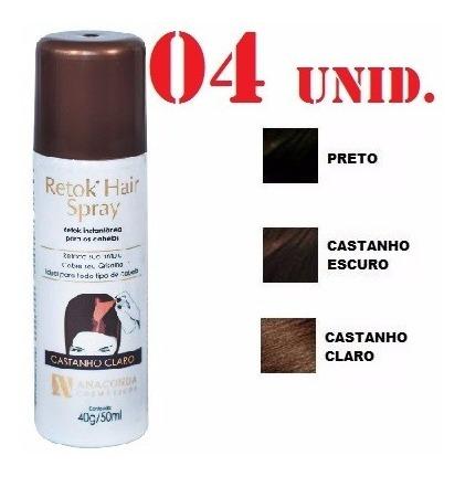 Kit 04 Retok Hair Spray Disfarce Calvice E Branco Anaconda