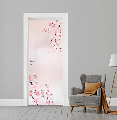 Adesivo Flor De Cerejeira Para Portas - 210x82cm + Brinde