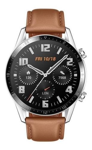 "Imagen 1 de 4 de Huawei Watch GT 2 Classic 1.39"" caja 46mm de  metal y plástico  stainless steel malla  pebble brown de  cuero LTN-B19"