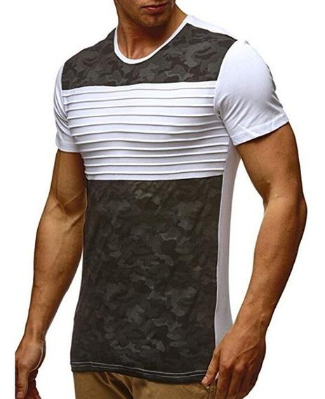 Camiseta De Manga Corta Con Estampado De Camuflaje P/hombres