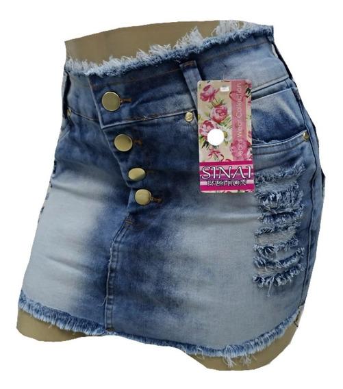 Mini Saia Jeans Com Elastano Plus Size