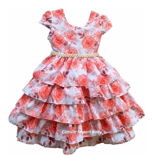Vestido Festa Infantil Floral Daminha Rodado Luxo 4 Ao 16
