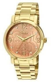Relógio Condor Dourado Mandala Visor Salmão Co2036co 4x