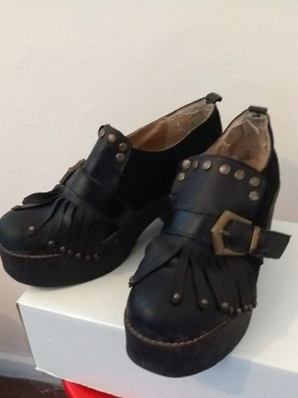 Zapatos De Plataforma, Negros, Marca Nazaria