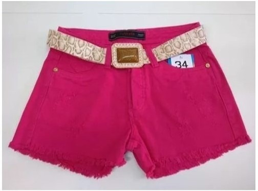 Shorts Cintura Média Color Sarja Pink Shorts Boyfriend-34/44