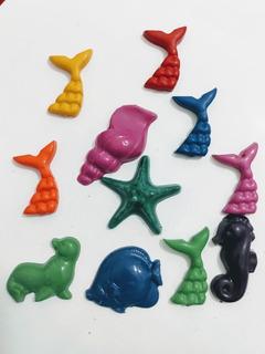 Souvenir Sirenas Pack X24 Crayones Mar Oceano Peces Caracol