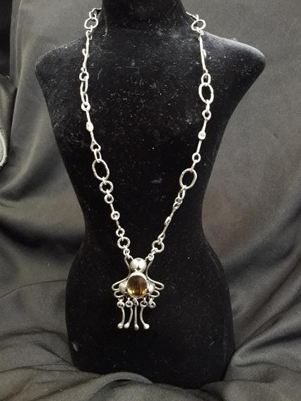 Collar De Plata Amuleto Safiro Antiguo
