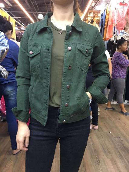 Jaqueta Jeans Feminina Com Bolsa Preta Verde