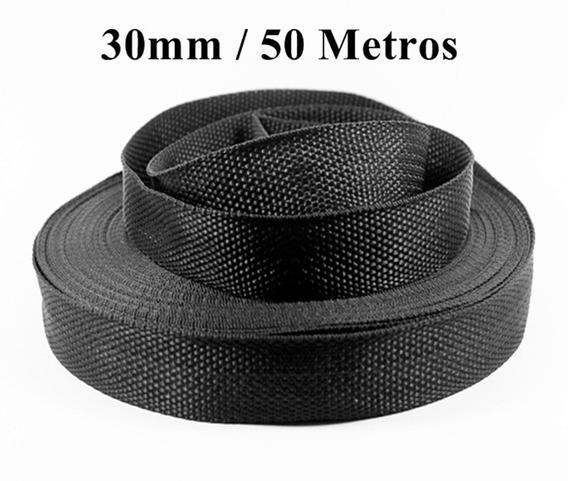 Fio Cinta Rolo De Fita 30mm Preto Confecção 50 Metros Pro