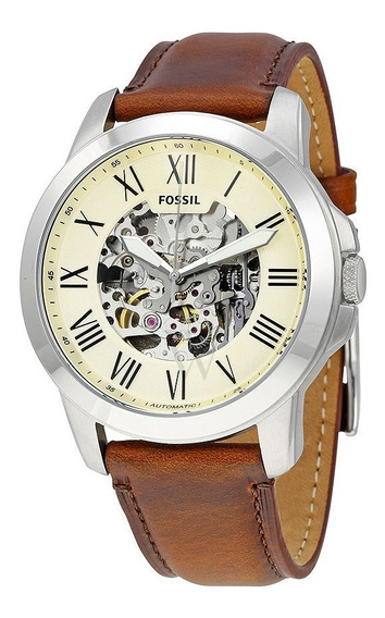 Relógio Fossil Grant Automático Bege Esqueleto-me3099