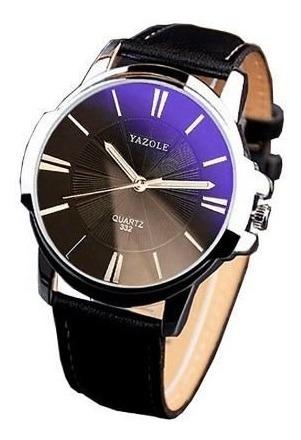 Relógio Masculino Yazole Quartz 332 Couro Preto