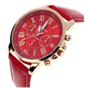 Relógio Geneva Com Pulseira De Couro- Feminino-promoção