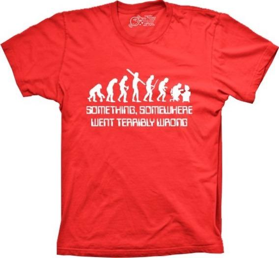 Camiseta Masculina Evolução Humana Tamanhos Especiais Cores