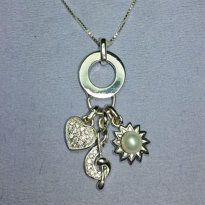 Colar Prata 925 Pingente Argola,clave Sol,coração E Sol