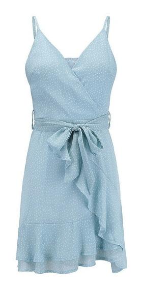 Vestido Azul Lunares Dama Vintage De Epoca Verano Mini