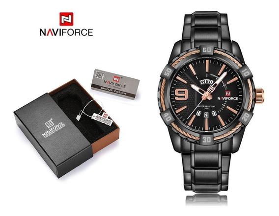 Relógio Masculino Naviforce Esportivo Preto Ponteiros Azul