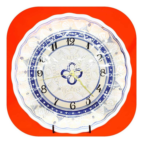 Imagen 1 de 2 de Reloj Blanco Fino 35 Cm De Talavera Poblana Rj Bl