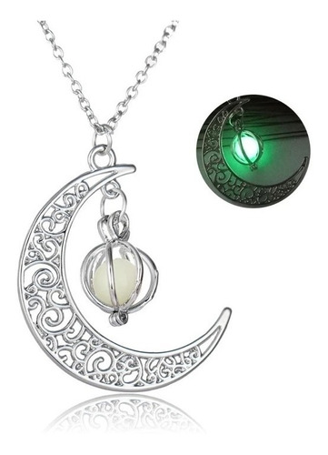 Collar Luna Cristal Brilla Oscuridad Fluorescente Mujer