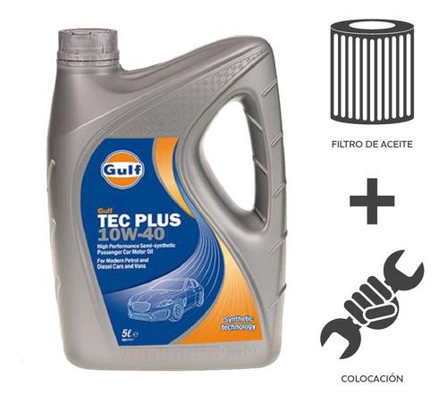 Cambio Aceite Gulf Tec Plus 10w40 4l+ Fil Aceite + Coloc