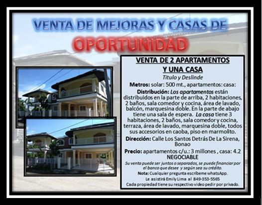 Venta De 2 Apartamentos Y Una Casa En Oportunidad