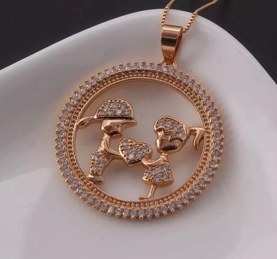 Colar Feminino Mandala Casal Folheado A Ouro 18k Promoção