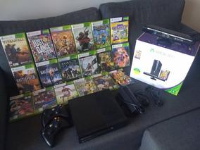 Xbox 360 Slim + Kinect + 2 Controles + 30 Jogos