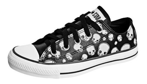 Tênis All Star Converse Print Skull Caveira Leather Preto