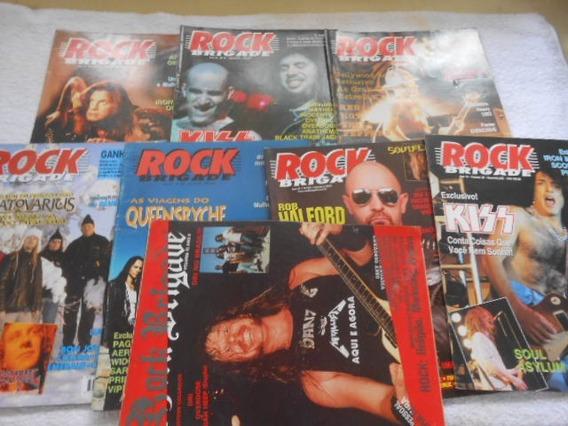 Rock Brigade Vários Nºs Kit 8 Revistas Rock Heavy Com Poster