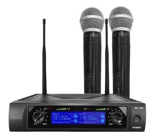 Imagen 1 de 7 de Set 2 Microfonos Inalambricos Uhf Pantalla Digital Mc-328