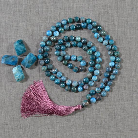 Japamala 108 Contas Pedra Apatita Azul