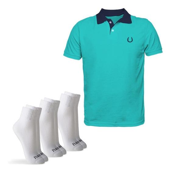 Kit Camisa Polo Meagle + 3 Pares Meia Cano Médio M Polomatch