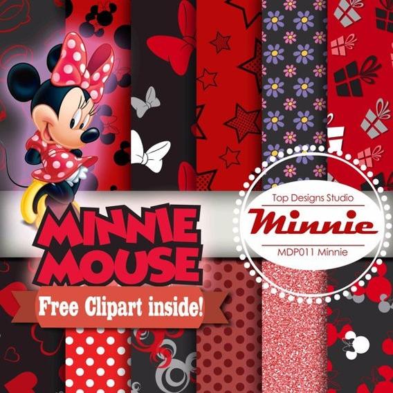 Scrap1real - Kit Scrapbook Digital Vermelha Minnie Mouse 2