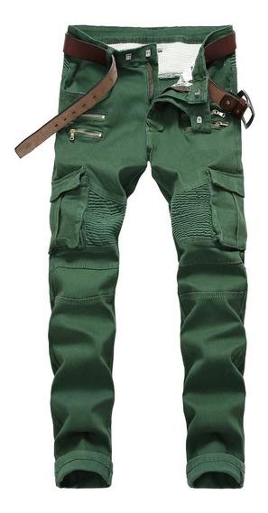 Pantalones Jeans Plisado Hombres Delgado Fit Pantalones Dril