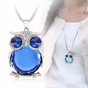 Colar Coruja Diamante Azul
