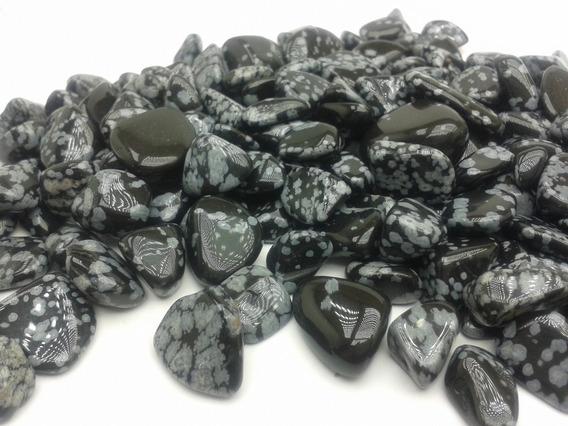 Obsidiana Floco De Neve Rolada Natural 250g Pedra Cura
