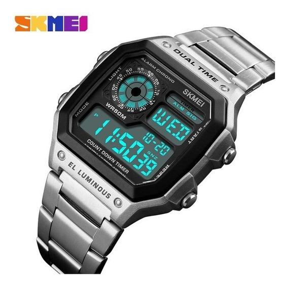 Relógio Masculino Pulseira Aço Skmei 1335 Digital + Brinde