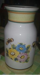 Jarron Florero Ceramica Con Detalles De Flores Leer Antes