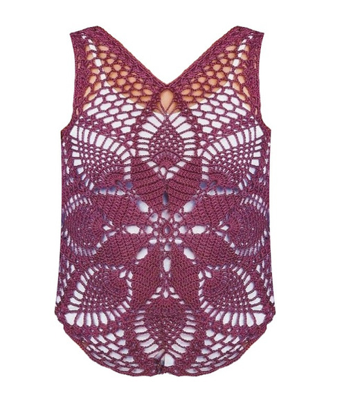 Musculosa Crochet Flor Frente Y Espalda