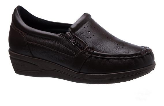 Mocassim Feminino Esporão 200 Em Couro Café Doctor Shoes