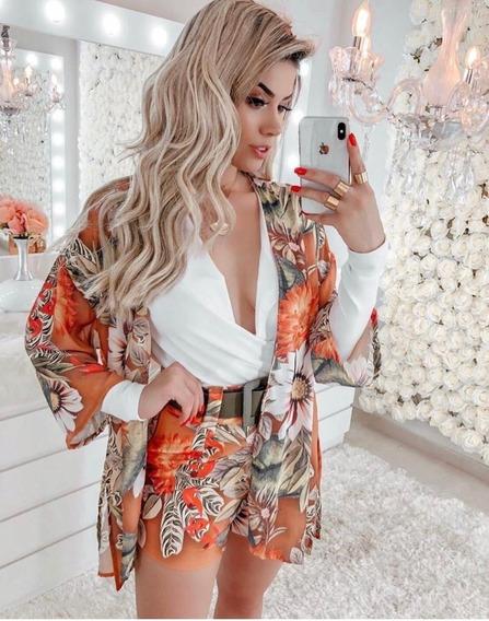 Conjunto Kimono Cardigan Com Short Alfaiataria Estampado