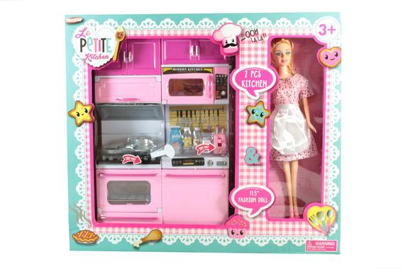 Cocinita Con Luz Y Sonido Incluye Muñeca Tipo Barbie Oferta!