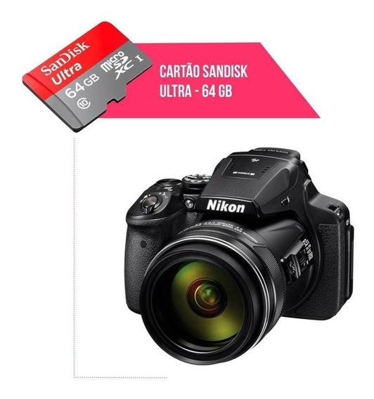 Cartão De Memória 64gb Ultra Para Câmera Nikon Coolpix P900